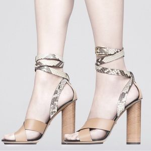 Gucci Snakeskin Ankle-Wrap Sandal Bisco/Old Roccia